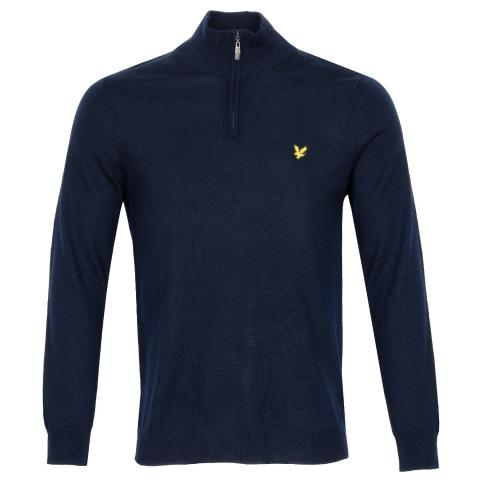Lyle & Scott Quarter Zip Neck Sweater Navy