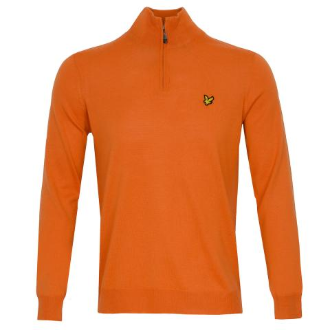Lyle & Scott Quarter Zip Neck Sweater Burnt Sienna