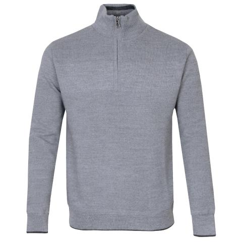 Oscar Jacobson Anders Zip Neck Lined Sweater Grey Marl