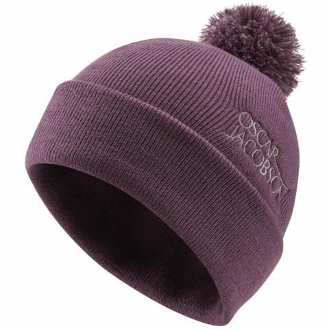 Oscar Jacobson Knitted Bobble Hat II Plum