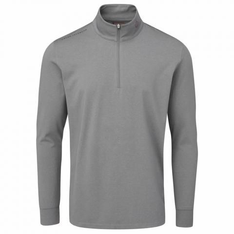 Oscar Jacobson Loke Zip Neck Sweater Pewter