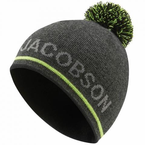 Oscar Jacobson Monroe Winter Bobble Hat Pewter/Lime