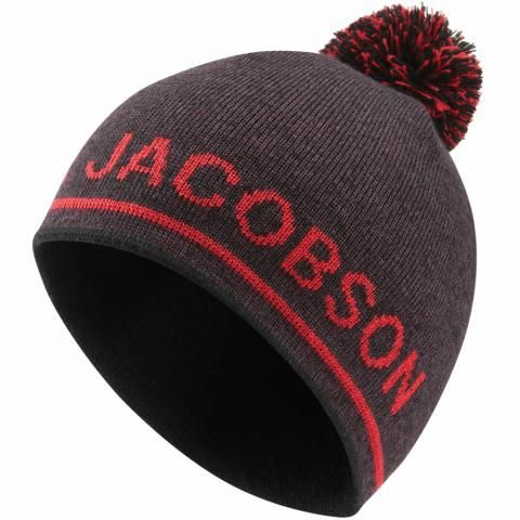 Oscar Jacobson Monroe Winter Bobble Hat Plum/Red