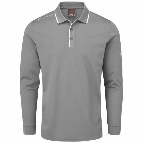 Oscar Jacobson Sheldon Long Sleeve Polo Shirt Pewter