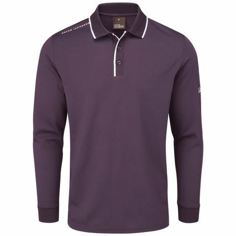 Oscar Jacobson Sheldon Long Sleeve Polo Shirt Plum