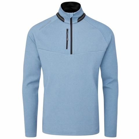 Oscar Jacobson Thomson Zip Neck Sweater Light Blue