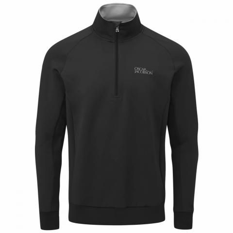 Oscar Jacobson Trent Tour Zip Neck Sweater Black