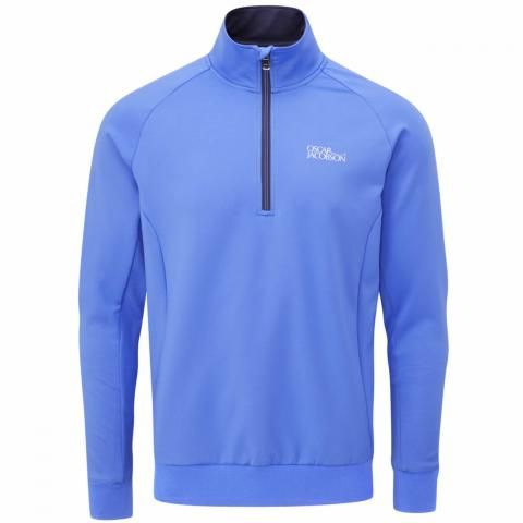 Oscar Jacobson Trent Tour Zip Neck Sweater Mid Blue