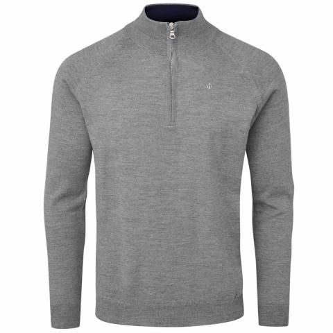 Oscar Jacobson Warwick Pin Zip Neck Merino Golf Sweater Dark Grey