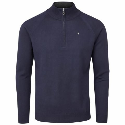 Oscar Jacobson Warwick Pin Zip Neck Merino Golf Sweater Navy