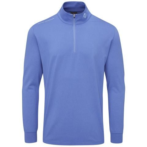 Oscar Jacobson Loke Zip Neck Sweater Mid Blue