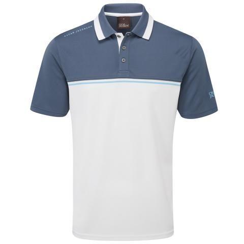Oscar Jacobson Stanton Polo Shirt Blue Charcoal/White