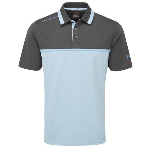 Oscar Jacobson Stanton Polo Shirt Charcoal/Sky Blue