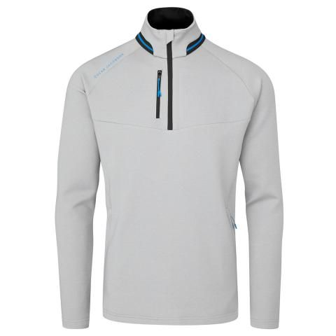 Oscar Jacobson Thomson Zip Neck Sweater Light Grey