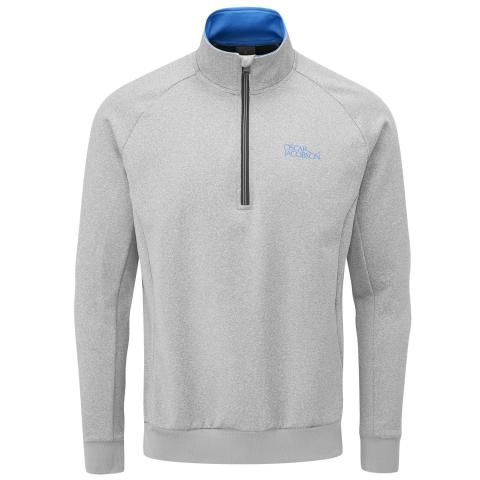 Oscar Jacobson Trent Tour Zip Neck Sweater Light Grey