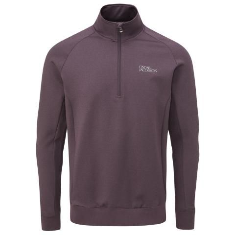 Oscar Jacobson Trent Tour Zip Neck Sweater Plum