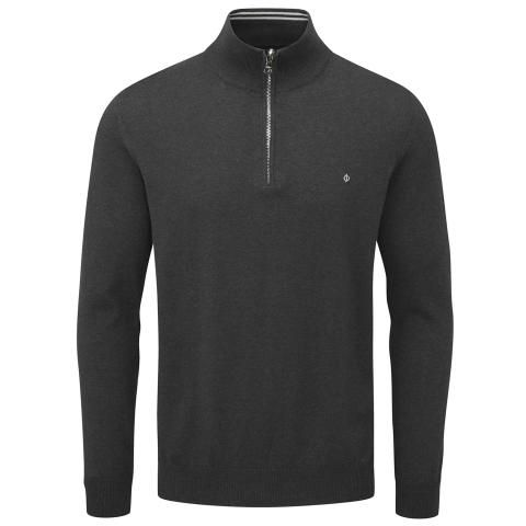 Oscar Jacobson Waldorf Pin Zip Neck Sweater Carbon Black