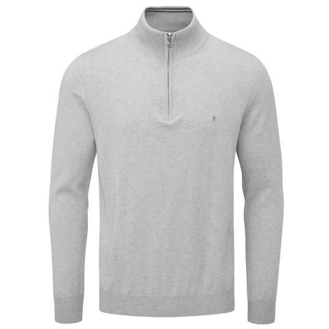 Oscar Jacobson Waldorf Pin Zip Neck Sweater Light Grey