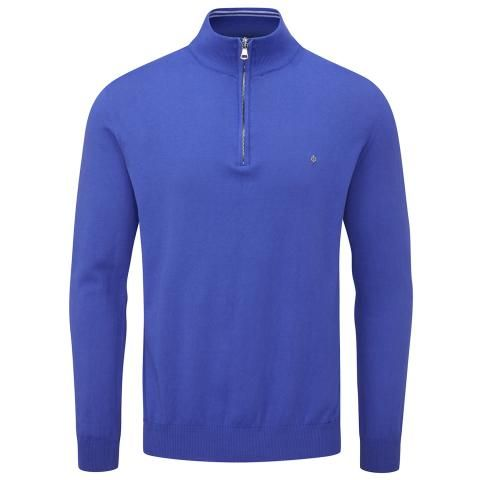 Oscar Jacobson Waldorf Pin Zip Neck Sweater Royal Blue