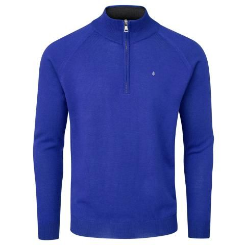 Oscar Jacobson Warwick Pin Zip Neck Merino Golf Sweater Royal Blue