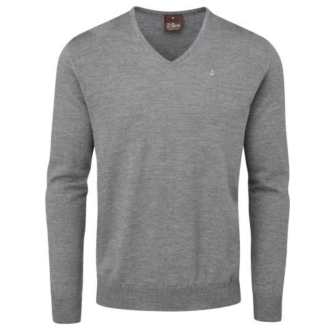 Oscar Jacobson Weston Pin V-Neck Golf Sweater Dark Grey