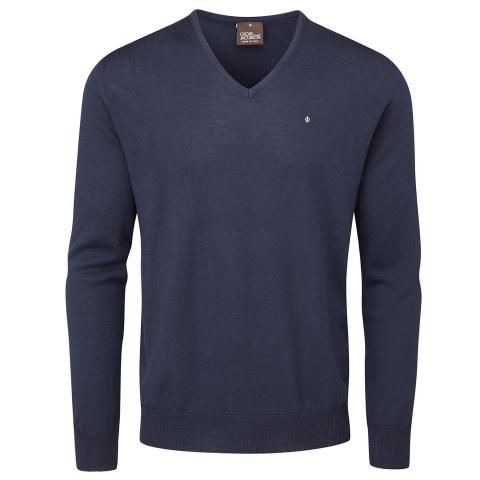 Oscar Jacobson Weston Pin V-Neck Golf Sweater Navy
