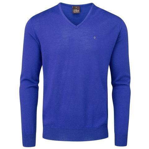 Oscar Jacobson Weston Pin V-Neck Golf Sweater Royal Blue