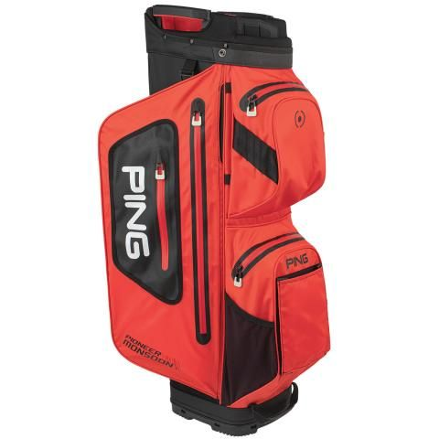 PING Pioneer Monsoon Waterproof Golf Cart Bag Scarlet/Black