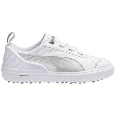 ac9a3573a40 Puma Monolite Mini Junior Golf Shoes White Silver Metallic ...
