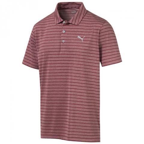 Puma Rotation Stripe Polo Shirt Rhubarb