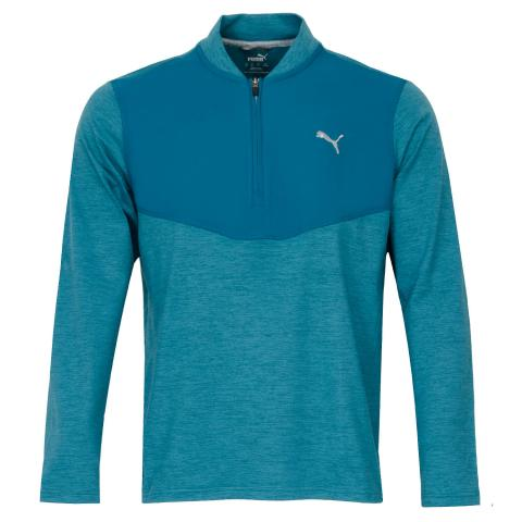 Puma Cloudspun Zip Neck Sweater Digi Blue Heather