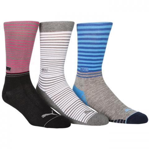 Puma Fusion Stripe Crew Socks (3 Pack) Multi