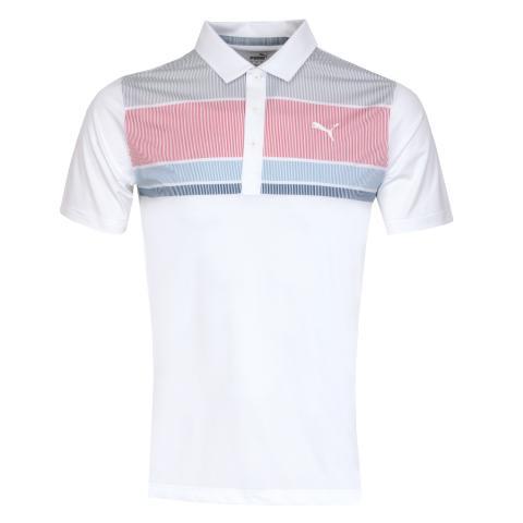 Puma Golf Road Map Polo Shirt Rapture Rose/Blue Bell