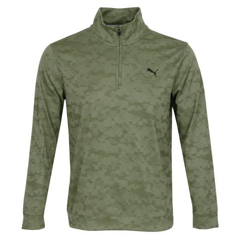 Puma Alterknit Digi Camo Zip Neck Sweater Deep Lichen Green