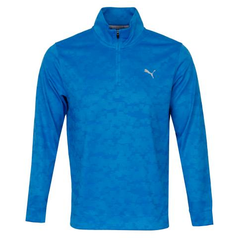 Puma Alterknit Digi Camo Zip Neck Sweater Ibiza Blue