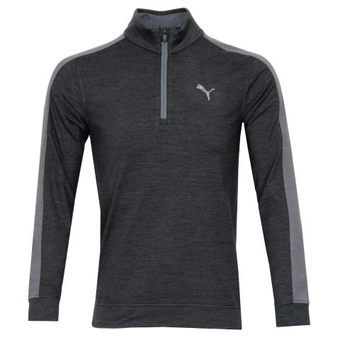 PUMA Cloudspun T7 Zip Neck Sweater Puma Black Heather/Quiet Shade Heather