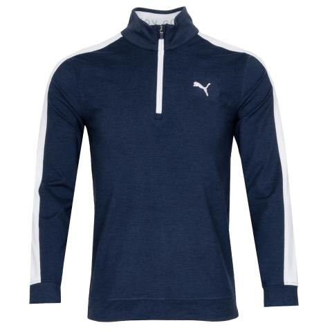 PUMA Cloudspun T7 Zip Neck Sweater Navy Blazer Heather/Bright White