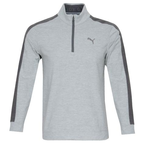 PUMA Cloudspun T7 Zip Neck Sweater High Rise Heather/Quiet Shade Heather