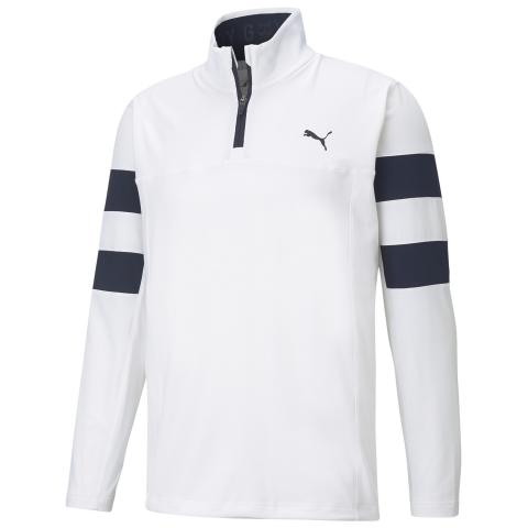 PUMA Torreyana Zip Neck Sweater Bright White/Navy Blazer