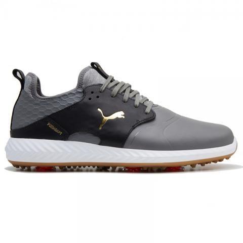 PUMA Ignite PWRADAPT Caged Crafted Golf Shoes Quiet Shade/Puma Black/Puma Team Gold