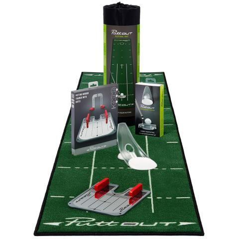 PuttOUT Complete Putting Studio Green Mat, White Putt Trainer & Mirror