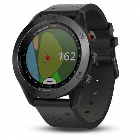 Garmin Approach S60 Premium GPS Watch Black Ceramic with Leather Strap
