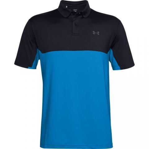 Under Armour Performance 2.0 Colour Block Polo Shirt Black/Electric Blue/Pitch Gray