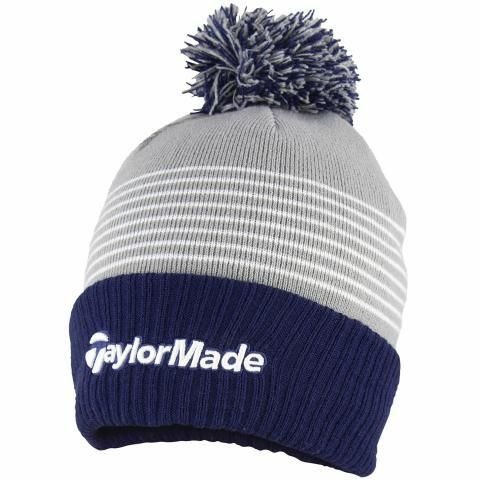 TaylorMade Bobble Winter Beanie Hat Grey/Navy/White