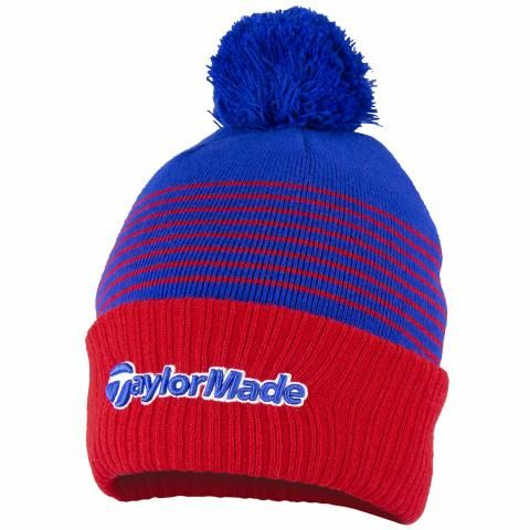 TaylorMade Bobble Winter Beanie Hat Red/Royal/White