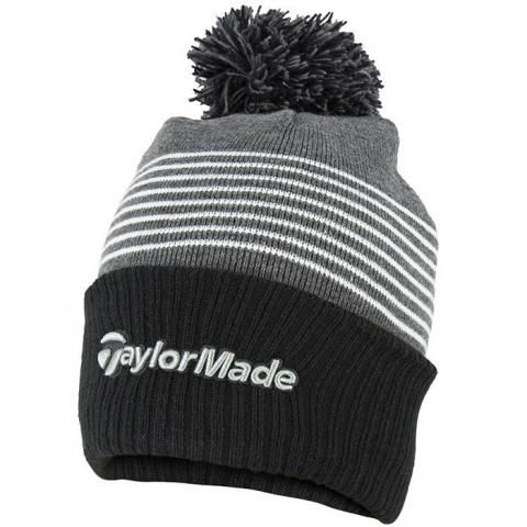 TaylorMade Bobble Winter Beanie Hat Black/Grey/White