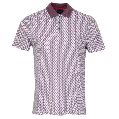 Ted Baker Spinin Geo Print Polo Shirt Purple