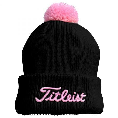 Titleist Ladies PomPom Winter Beanie Hat Black/Pink