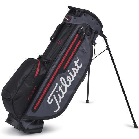 Titleist 2020 Players 4 Plus StaDry Waterproof Golf Stand Bag Black/Charcoal/Red