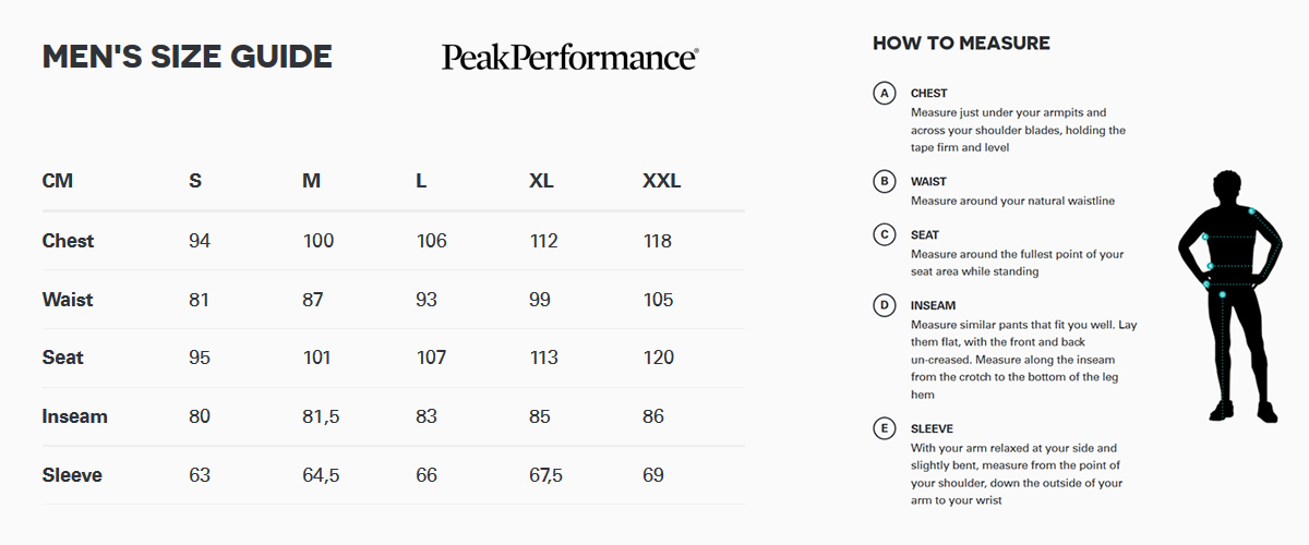 Peak Performance Size Guide